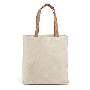 Sacola 100% algodão: 180 g/m² Com bolso interior Alças em cortiça de 60 cm