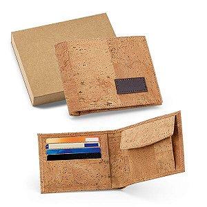 Carteira Cortiça Com porta níquel e capacidade para 4 cartões Fornecida em caixa kraft