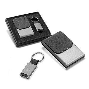 Kit Porta Cartões e chaveiro Metal e c sintético Em caixa almofadada