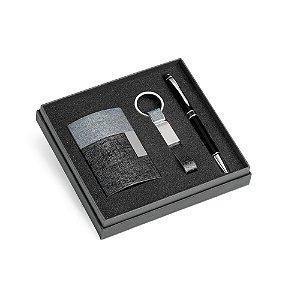 Kit de porta cartões, chaveiro e esferográfica C sintético, metal e alumínio Esferográfica com ponteira touch Em caixa almofadada