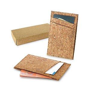 Porta Cartões Cortiça c/ capacidade para 4 cartões e compartimento para notas Fornecido em caixa kraft