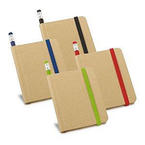 Caderno Cartão Capa dura Com 70 folhas não pautadas de papel reciclado Incluso lápis