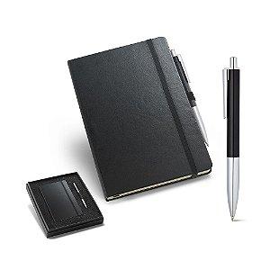 Kit de caderno e esferográfica Cartão e alumínio Caderno capa dura com 96 folhas não pautadas cor marfim Em caixa almofadada Incluso caderno e esferográfica