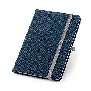 Caderno capa dura Jeans 96 folhas pautadas Bolso interior Suporte para esferográfica Esferográfica não inclusa