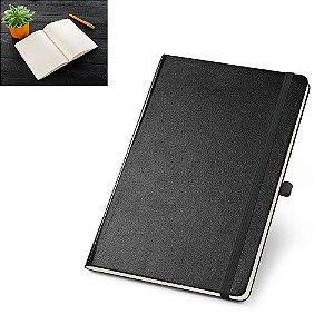 Caderno capa dura C Sintético 80 folhas miolo pontilhado cor marfim Bolso interior Suporte para esferográfica Esferográfica não inclusa