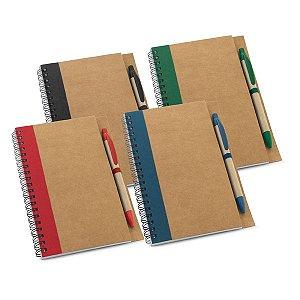 Caderno Papel kraft Capa dura Com 60 folhas não pautadas de papel reciclado Incluso esferográfica