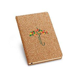 Caderno capa dura A5 Cortiça Com 80 folhas não pautadas cor marfim