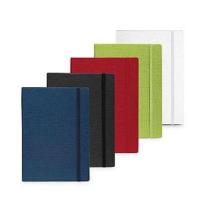 Caderno capa dura em cartão e em PU térmico 100 folhas pautadas com limite de pagina em arco-íris