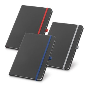 Caderno capa dura C sintético Com porta esferográfica e 80 folhas não pautadas