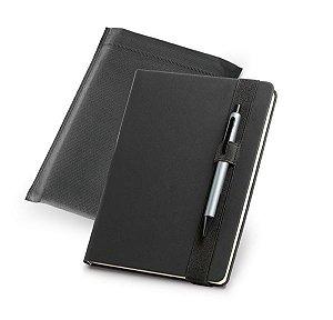 Caderno capa dura C sintético Com porta esferográfica e 140 folhas não pautadas cor marfim Fornecido em embalagem de non-woven Esferográfica não inclusa145