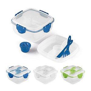 Marmita PP Com 3 compartimentos, garfo, faca e molheira Capacidade total: 1200 ml Apta para microondas (retirar a tampa) Food grade