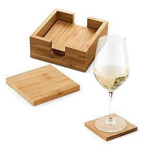 Kit de 4 porta copos Bambu 4 bases com caixa aberta