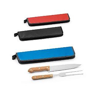 Kit churrasco Aço inox e madeira 2 peças em estojo de 210D Food grade