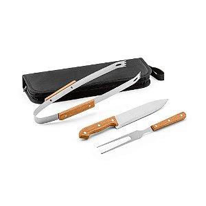Kit churrasco Aço inox e madeira 3 peças em estojo de 210D Food grade