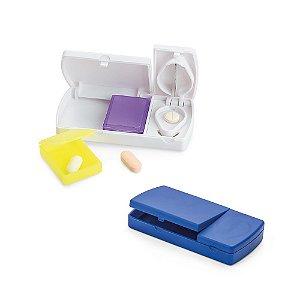 Porta comprimidos Com cortante e 2 divisórias interiores extraíveis Food grade