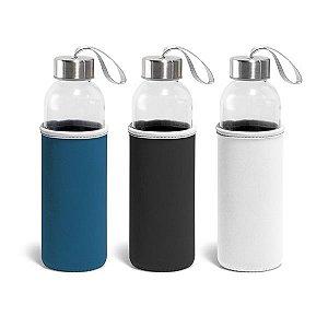 Squeeze Vidro e Aço Inox - Capacidade até 520 ml - Fornecido c/ luva em soft shell