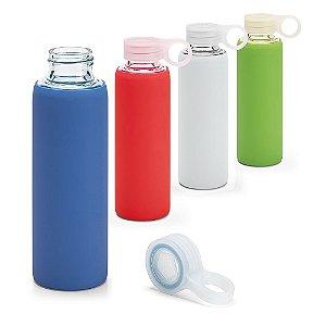 Squeeze Vidro Borossilicato c/ Tampa em PP e Bolsa em Silicone - Capacidade: 380 ml - Fornecida em caixa