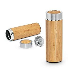 Garrafa térmica Bambu e aço inox Com parede dupla e infusor para chá Capacidade até 430 ml Fornecida em caixa presente Food grade