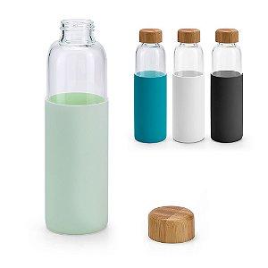 Squeeze Vidro borossilicato Com tampa em bambu e revestida com luva em silicone Capacidade: 600 ml Food grade Fornecida em caixa