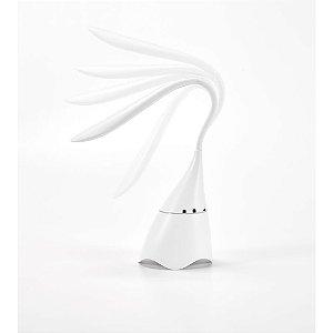 Luminária de Mesa c/ Caixa de Som ABS Com 18 LEDs de alto brilho, botão tátil e braço flexível
