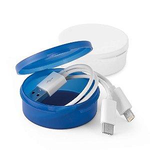 Cabo USB 3 em 1 ABS e PVC Adequado para carregar dispositivos móveis Dispõe de um conector USB tipo C e um conector 2 em 1, compatível com entradas micro USB e sistema operativo iOS Fornecido em caixa de PP