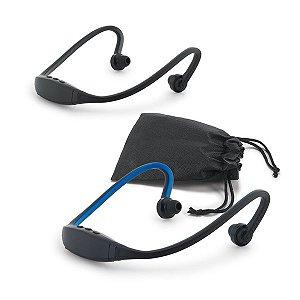 Fone de ouvido ABS e silicone Com transmissão por bluetooth Autonomia até 3 h Função para atender chamadas e conexão à playlist do dispositivo móvel Incluso cabo micro USB para carregar Fornecido com bolsa em non-woven