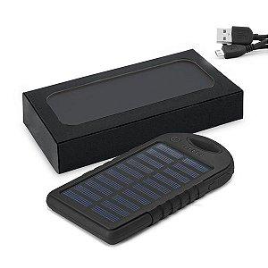 Bateria portátil solar ABS Com painel solar e LED Bateria de lítio Capacidade: 2000 mAh Com entrada/saída 5V/1A e 2 portas USB Incluso cabo USB/micro USB para carregar a bateria Fornecida em caixa presente