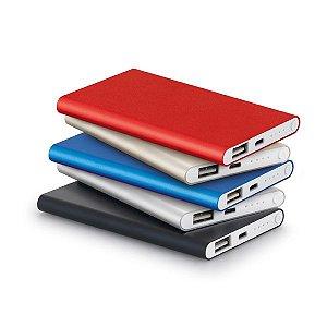 Bateria portátil slim Alumínio Bateria de lítio Capacidade: 4400 mAh Tempo de vida ≥ 500 ciclos Com entrada/saída 5V/1A Incluso cabo USB/micro USB para carregar a bateria