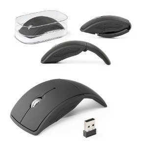 Mouse Wireless Dobrável 24G ABS - Acabamento Emborrachado Incluso 2 pilhas AAA Em caixa transparente