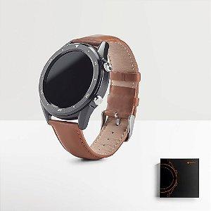 O THIKER II é um moderno relógio inteligente com bracelete em pele que se adequa a diferentes ocasiões devido ao seu elegante design Fornecido em caixa presente