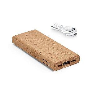 Bateria portátil Bambu Bateria de lítio Capacidade: 5000 mAh Tempo de vida ≥ 500 ciclos Potência de carregamento: 5W Entrada 5V/2A e saída 5V/1-2A