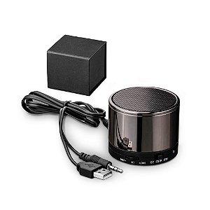 Caixa de som com microfone Com transmissão por bluetooth, ligação stereo 3,5 mm e leitor de cartões TF Autonomia até 8h Capacidade: 500mAh