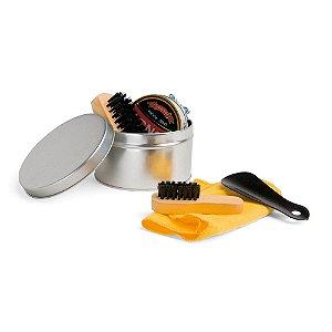 Kit de limpeza de sapatos Com 6 peças: 1 cera incolor para sapatos, 1 flanela amarela, 2 escovas em madeira, 1 calçadeira e 1 embalagem lata