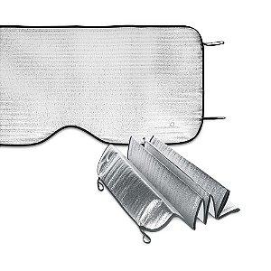Protetor Solar para Carros Espuma de PE Forrado com 1 folha de alumínio Para vidro frontal Incluso 2 fixadores de ventosa