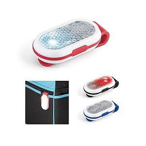 Refletivo ABS Com 2 LEDs, 2 modos de luz e clipe atrás Incluso 2 pilhas CR1220