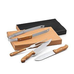 Kit churrasco Aço inox e bambu 4 peças em caixa kraft Food grade