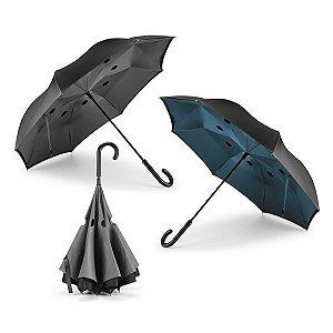 Guarda-chuva reversível Pongee 190T Capa dupla Cabo em metal e varetas em fibra de vidro Abertura manual e fecho automático Estrutura patenteada