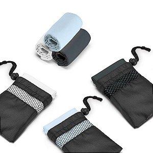 Toalha p/ Esporte 100% poliéster: 210 g/m² - Fornecida c/om Bolsa em 190T. 400 x 800 mm | Bolsa: 135 x 205 mm