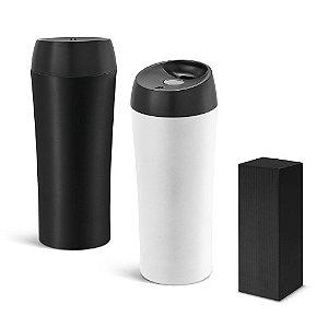Copo p/ Viagem Aço Inox e PP c/m Parede Dupla, tampa c/ sistema anti derrame e antideslizante na base - Capacidade até 470 ml