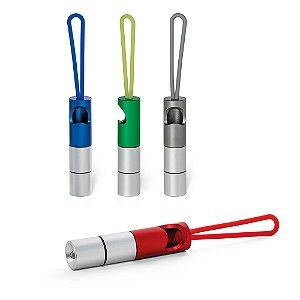 Chaveiro Alumínio Com 1 LED c/ Abridor de Garrafas e fita em silicone Inclui 3 pilhas LR44