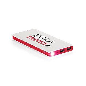 Bateria portátil ABS Com LED Bateria de lítio Capacidade: 11000 mAh Tempo de vida ≥ 500 ciclos Com entrada 5V/1A, saída 5V/1-21A e 2 portas USB Incluso cabo USB/micro USB para carregar a bateria