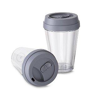 Copo Plástico Parede dupla com tampa 320ml, plástico utilizado AS (Estireno de acrilonitrilo)