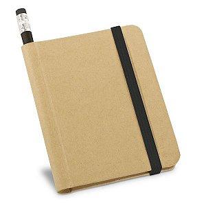 Caderno Cartão Capa dura. Com 70 folhas não pautadas de papel reciclado. Incluso lápis. 82 x 105 mm