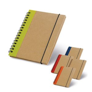 Caderno capa dura. Cartão. Com 60 folhas não pautadas de papel reciclado. 105 x 145 mm
