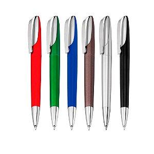 CS1061A - Caneta plástica com clip metálico esferográfica retrátil escrita azul
