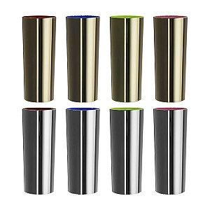 NP - COPO LONG DRINK METALIZADO PRATA E DOURADO Copo em PS cristal com metalização