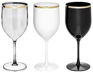 NP - Taça de vinho Gênova Golden 400ml em PS cristal