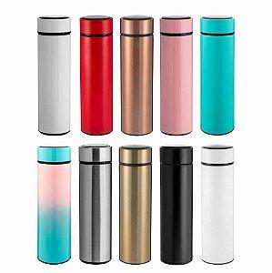 NP - Garrafa Térmica Slim 450ml c/ Isolamento térmico a vácuo, exclusivo filtro em aço inoxidável. Design minimalista e ergonômico.