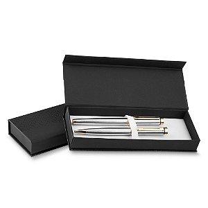 EM0147 - Estojo executivo de papelão, com berço aveludado, elástico duplo, para uma ou duas canetas. (canetas não inclusas)