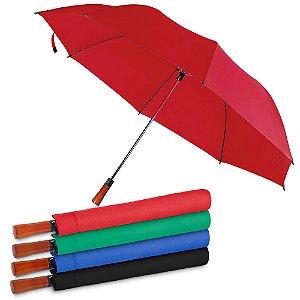 GC1000 - Guarda-chuva com Cabo de madeira e haste de metal + capa protetora, botão acionador para abertura automática, tecido ponge chinês, seda crua poliéster, oito varetas.
